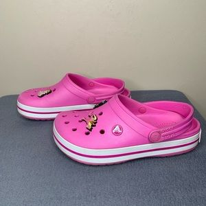 CROCS Clogs Pink / White with Jibbitz Size M4 / W6